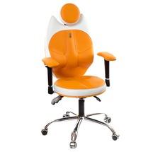 Крісло офісне Kulik System - TRIO (екошкіра, Duo color) - помаранчевий з білим