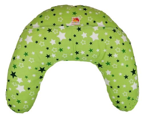 Подушка Лежебока для кормления с рисунком Звёзды на зелёном
