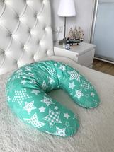 Подушка Лежебока для кормления с рисунком Зелёные звёзды